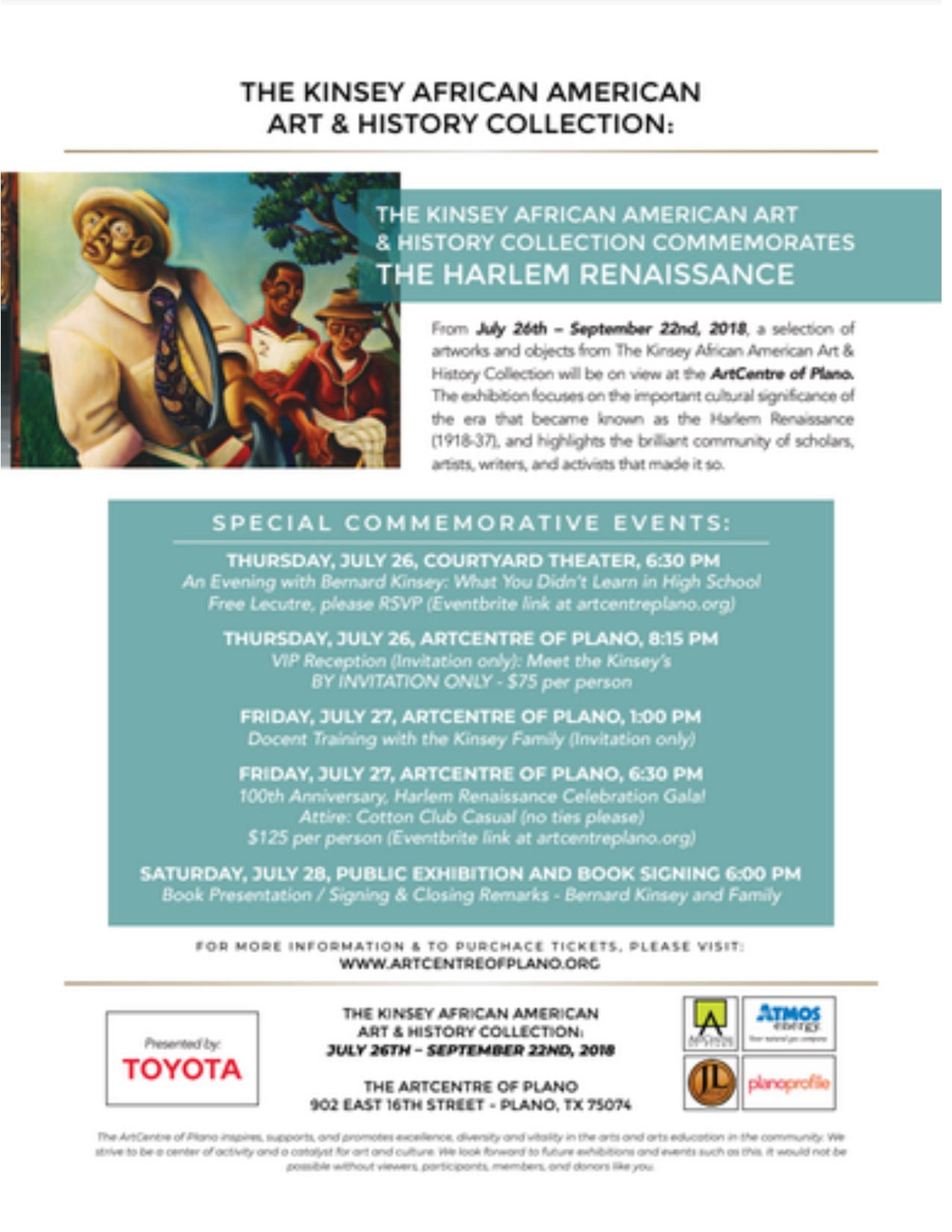 The Kinsey African American Art & History Collection Commemorates the Harlem Renaissance: 7/26-9/22