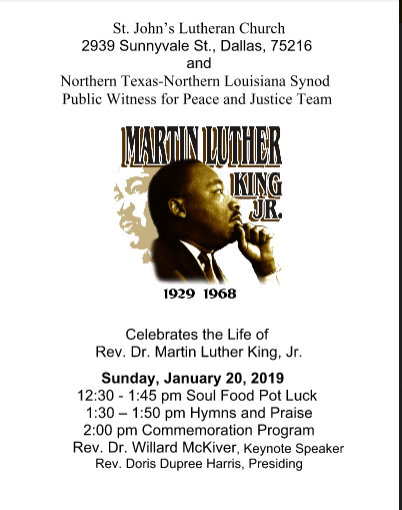 MLK Program at St. John's Lutheran Church: January 20, 2019