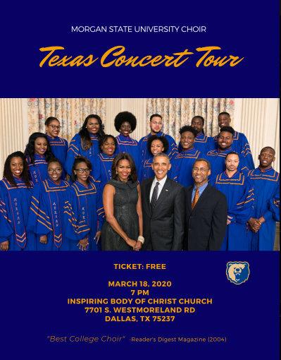 Morgan State University Choir Texas Concert Tour: March 18, 2020