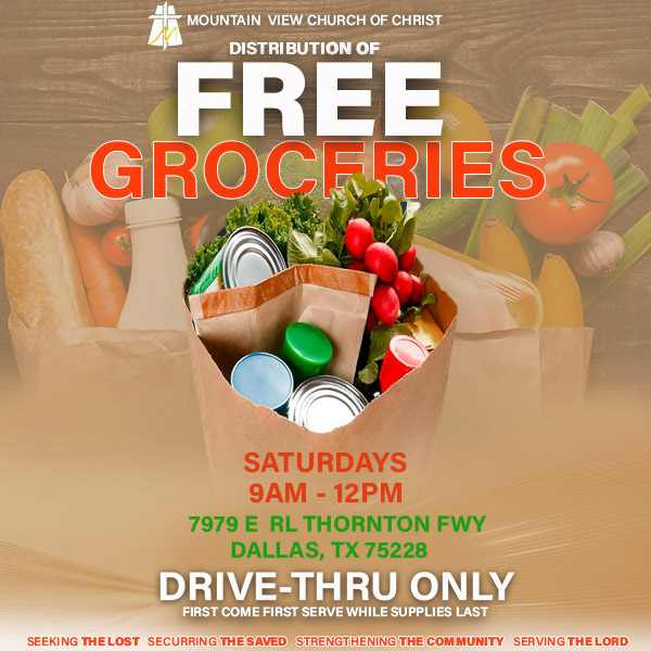 Mountain View Church of Christ's Free Groceries Drive-Thru: Every Saturday