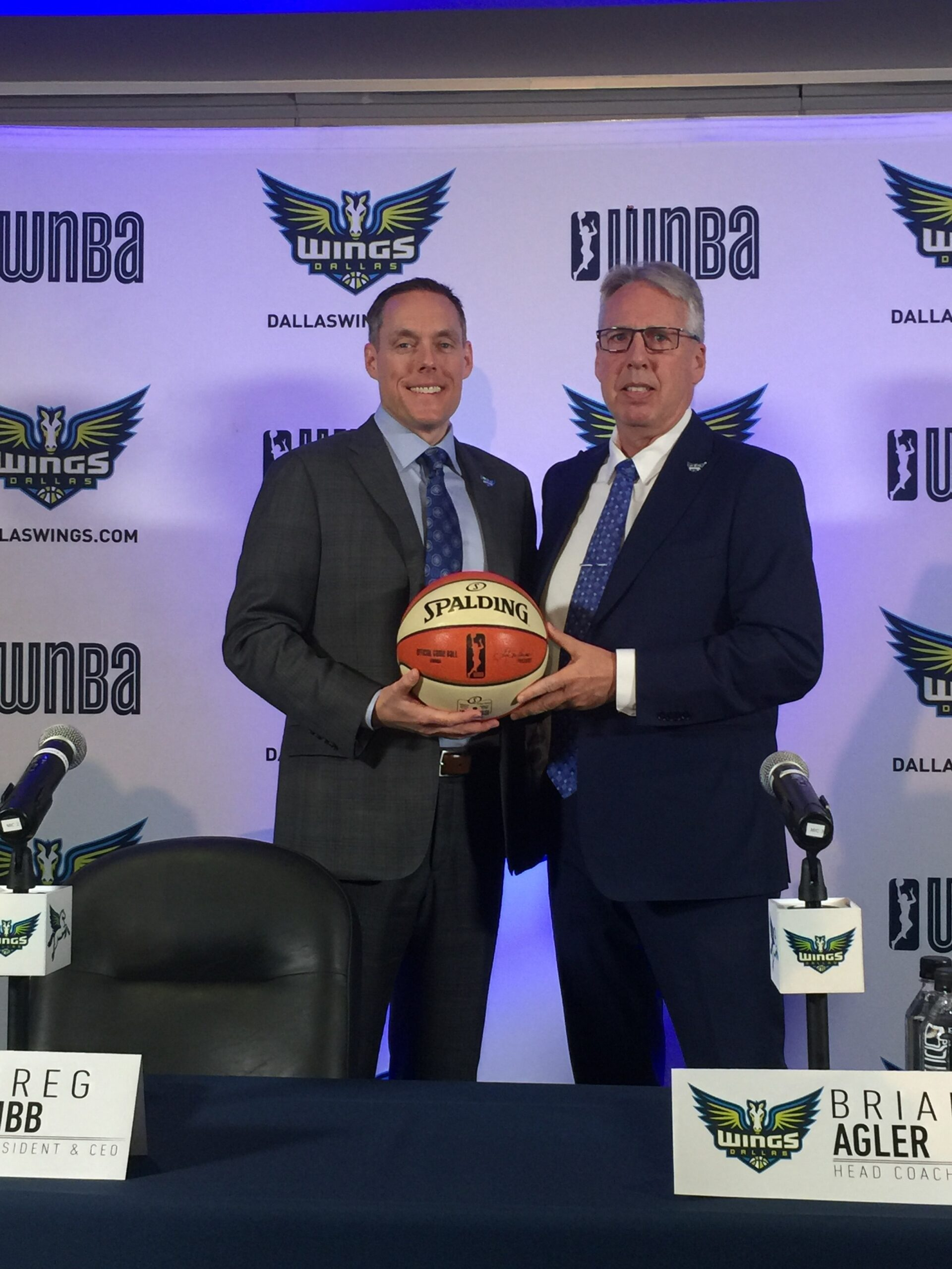 Dallas Wings GM Greg Bibb (left) and Former Head Coach Brian Agler