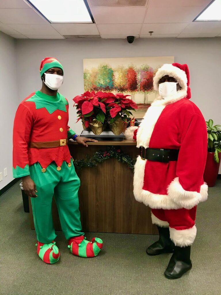 Santa and his elf at Red Bird Mall