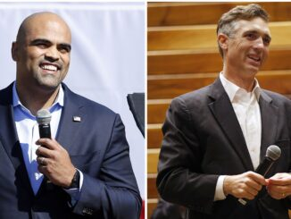 LEFT - Colin Allred, the U.S. Representative from Texas' 32nd District, speaks before former second lady Jill Biden made a drive-in campaign rally stop at Fair Park in Dallas, Tuesday, October 13, 2020. (Tom Fox/The Dallas Morning News) RIGHT - U.S. Rep Van Taylor during an election watch night party at Verona Villas on Tuesday, November 3, 2020 in Frisco, Texas. (Vernon Bryant/The Dallas Morning News) (Tom Fox, Vernon Bryant)